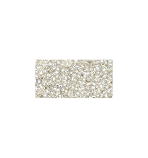 TR-15-2100 SILVER-LINED MILKY WHITE TOHO SEEMNEHELMEID