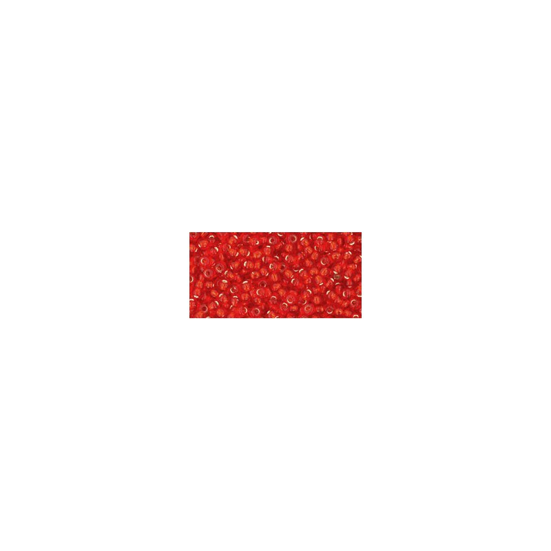 TR-11-25F SILVER-LINED FROSTED LT SIAM RUBY TOHO SEED BEADS