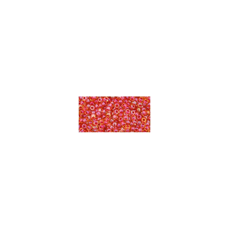 TR-11-241 INSIDE-COLOR RAINBOW LT TOPAZ/MAUVE LINED TOHO SEED BEADS