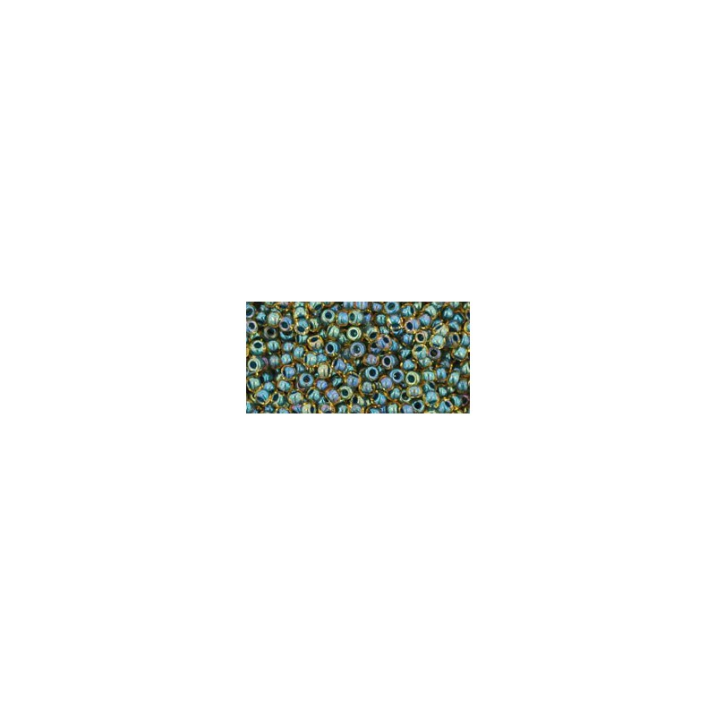 TR-11-243 INSIDE-COLOR RAINBOW TOPAZ/OPAQUE EMERALD LINED TOHO SEED BEADS