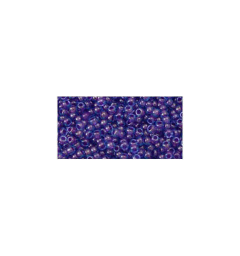 TR-11-252 INSIDE-COLOR AQUA/PURPLE LINED TOHO SEED BEADS