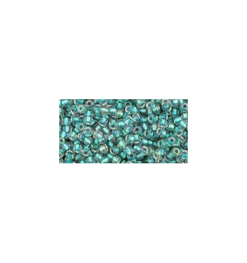 TR-11-264 INSIDE-COLOR RAINBOW CRYSTAL/TEAL LINED TOHO SEED BEADS