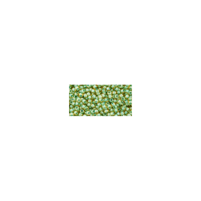 TR-11-380 INSIDE-COLOR TOPAZ/MINT JULEP LINED TOHO SEED BEADS