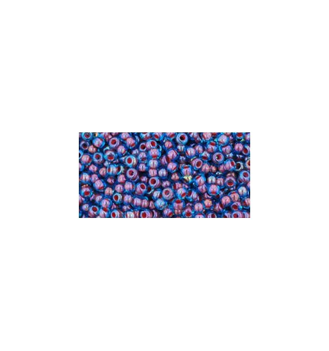 TR-11-381 INSIDE-COLOR AQUA/OXBLOOD LINED TOHO SEED BEADS