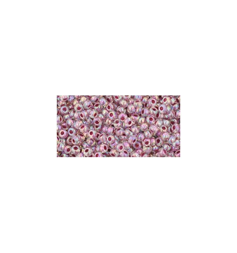 TR-11-771 INSIDE-COLOR RAINBOW CRYSTAL/STRAWBERRY LINED TOHO SEED BEADS