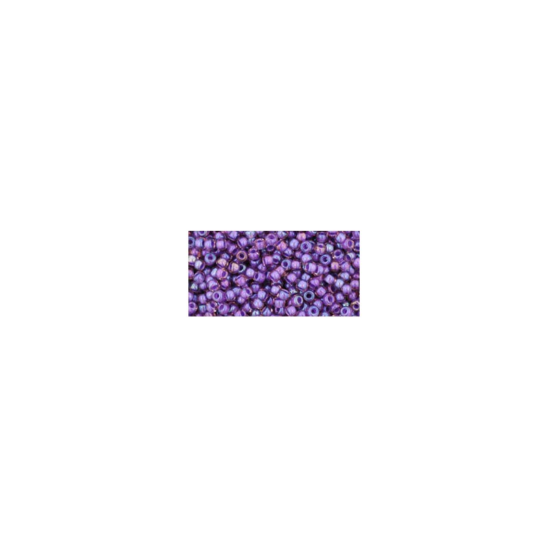 TR-11-928 INSIDE-COLOR RAINBOW ROSALINE/OPAQUE PURPLE LINED TOHO SEED BEADS
