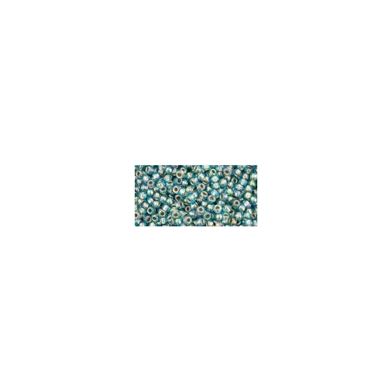 TR-11-995 GOLD-LINED RAINBOW AQUA TOHO SEED BEADS