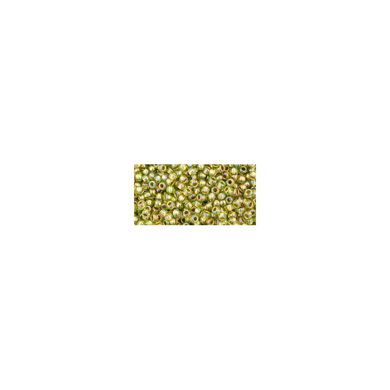 TR-11-996 GOLD-LINED RAINBOW PERIDOT TOHO SEED BEADS