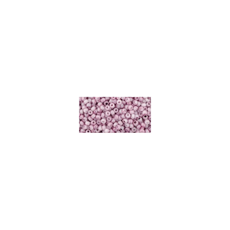 TR-11-1200 MARBLED OPAQUE WHITE/PINK TOHO SEED BEADS