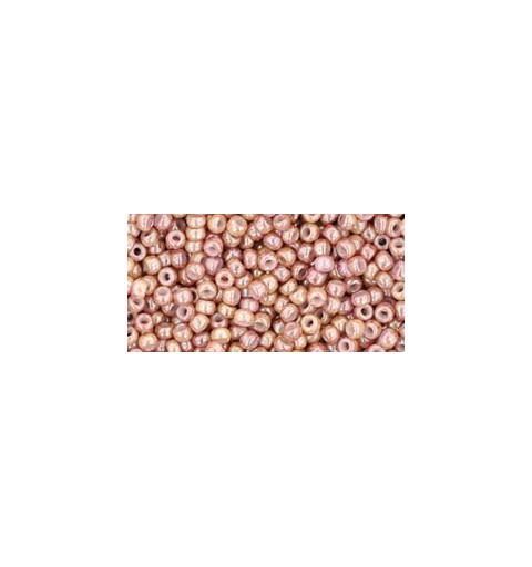 TR-11-1201 MARBLED OPAQUE BEIGE/PINK TOHO SEED BEADS