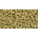 TR-11-1209 MARBLED OPAQUE AVACADO/PINK TOHO SEED BEADS