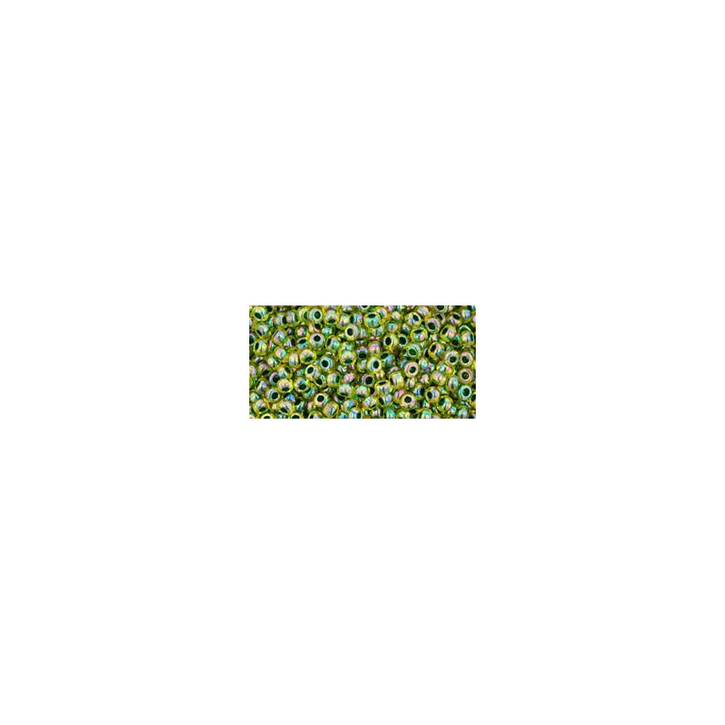 TR-11-1829 INSIDE-COLOR RAINBOW JONQUIL/FOREST GREEN LINED TOHO SEED BEADS