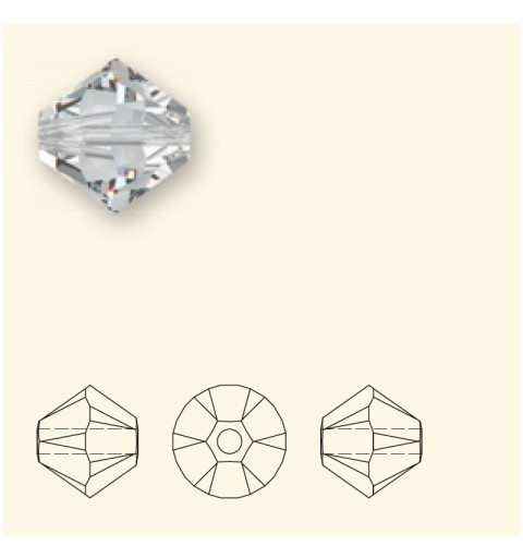 4MM Black Diamond (215) 5328 XILION Bi-Cone Beads SWAROVSKI ELEMENTS