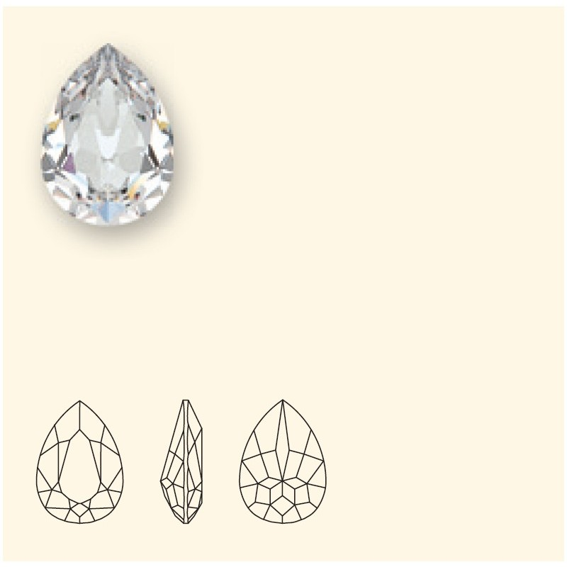 18x13mm Crystal Silver Night F (001 SINI) Pear-Shaped Fancy Stone 4320 Swarovski Elements