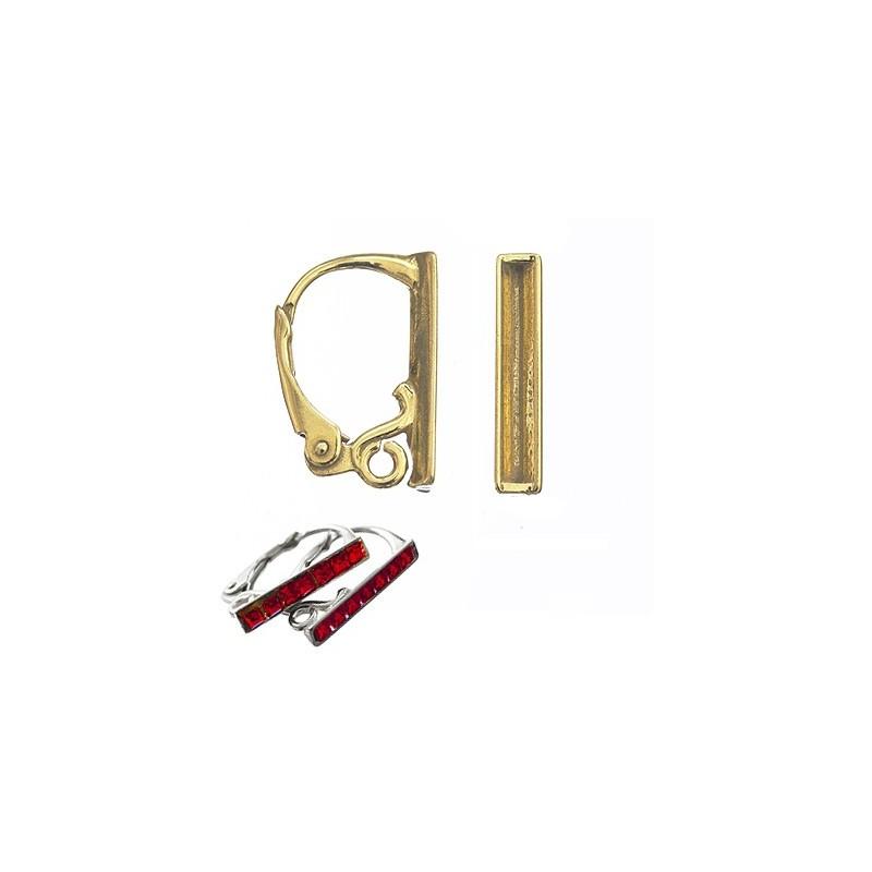 Серебрянная 925 Позолоченая основа для серёжки с замком икольцом 16x10MM для Сваровски