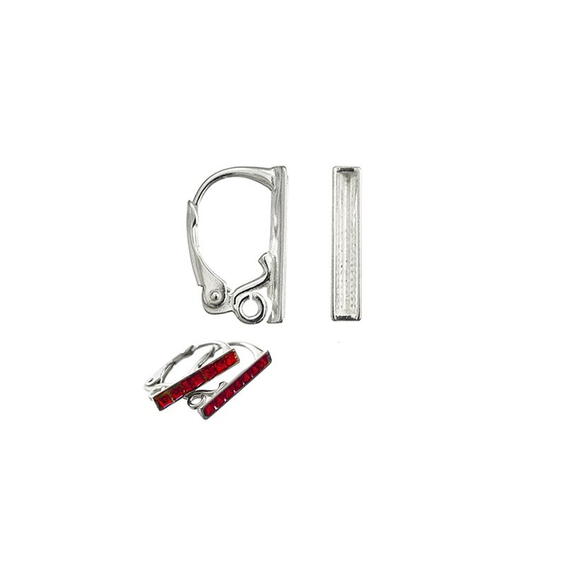 Серебрянная 925 Стерлинг основа для серёжки с замком и кольцом 16x10MM для Сваровски