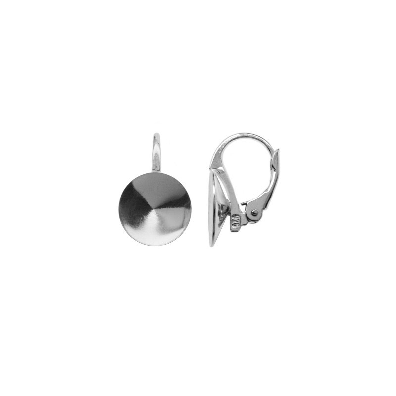 Silver Lever back with setting for rivoli Swarovski 1122 10-18mm approx. 16x10mm