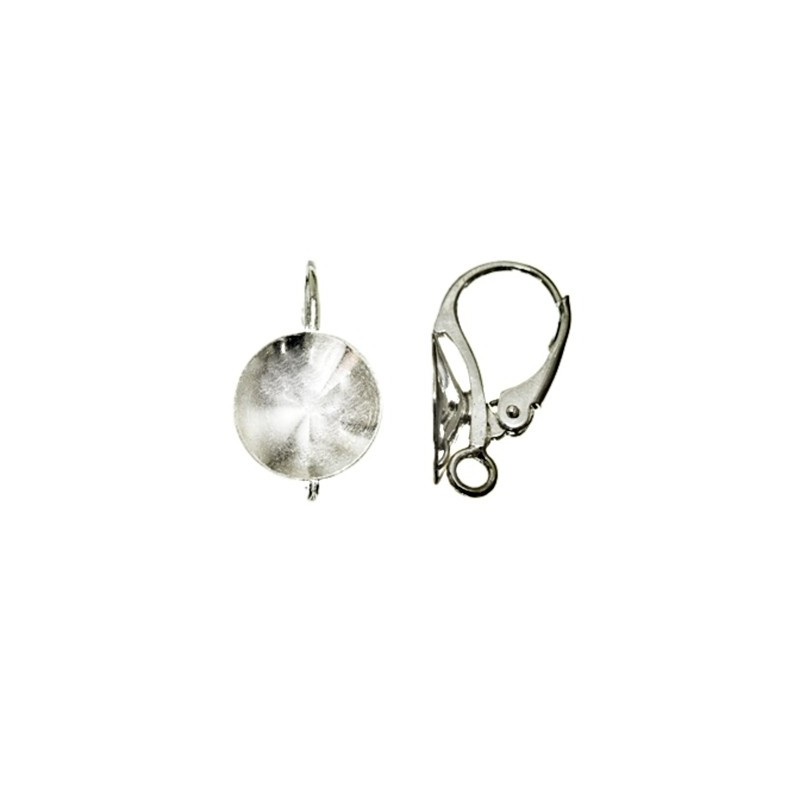 Silver Lever back with setting & ring for rivoli Swarovski 1122 10-18mm approx. 18x10mm