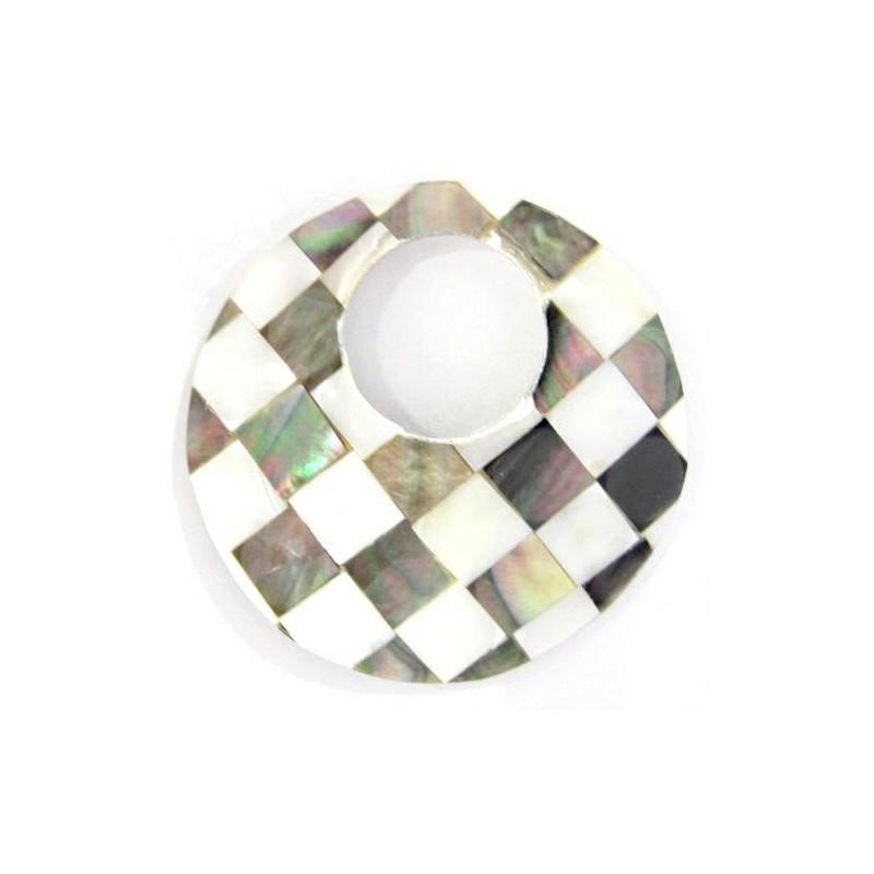 50mm Кулон круглыйс отверстием ок. 23mm перламутровый из ракушки