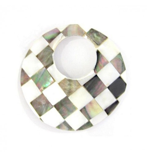 50mm Pendant nacreous from shell round ripats hole approx. 23mm
