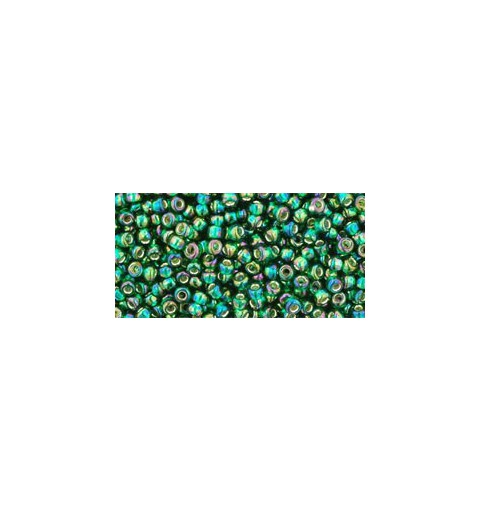 TR-11-2036 Silver-Lined Rainbow Green Emerald TOHO Seed Beads