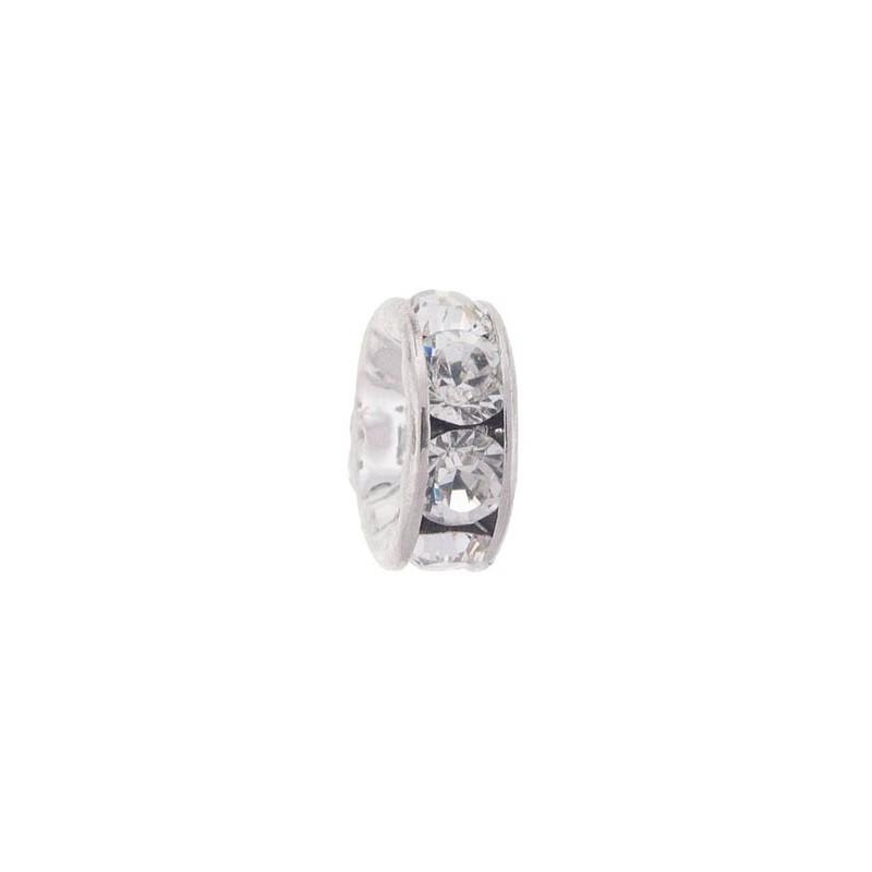 6mm Crystal F Rhinestone Rhodium Rondelle 77506 Swarovski Elements
