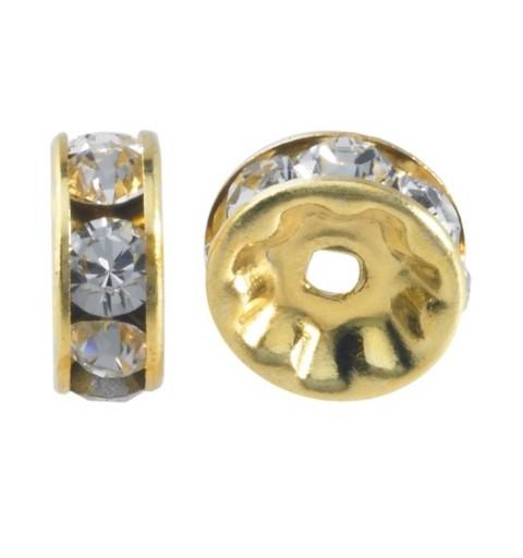 6mm Crystal F Rhinestone Gold Plated Rondelle 77506 Swarovski Elements