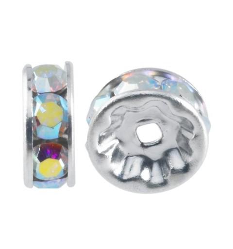 6mm Crystal AB F Rhinestone Rhodium Rondelle 77506 Swarovski Elements
