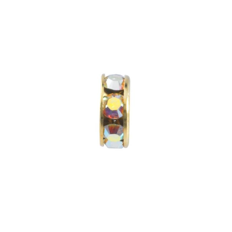 6mm Crystal AB F Rhinestone Kullatud Rondelle 77506 Swarovski Elements
