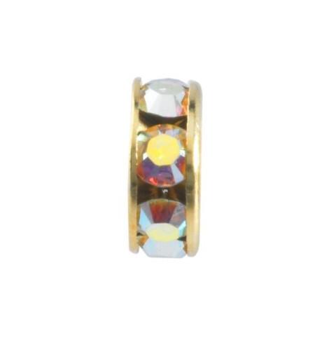 8mm Crystal AB F Rhinestone Kullatud Rondelle 77508 Swarovski Elements