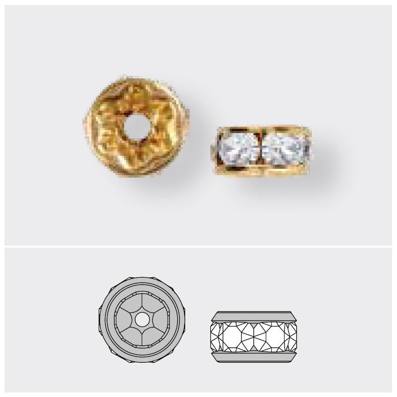 6mm Crystal AB F Rhinestone Gold Plated Rondelle 77506 Swarovski Elements