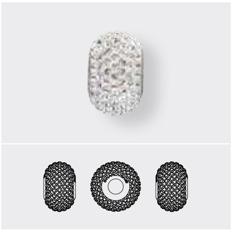 14mm Crystal Silver Night (001 SINI) 80101 BeCharmed Pavé Bead Swarovski Elements
