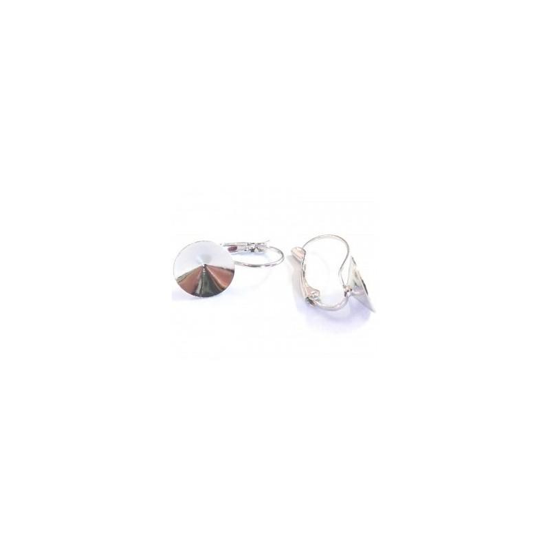 Металлическая основа для серёжек с замком серебрянного цвета для rivoli 1122 12мм прибл. 22x12mm