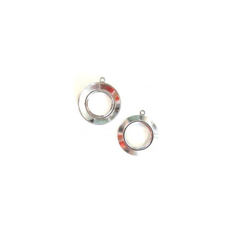 20mm Металлическая основа для Космического кольца Swarovski 4139 посеребрённая с кольцом