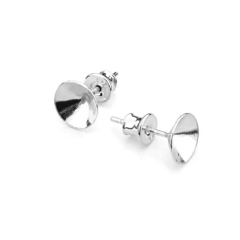 For 1088 SS39 (~8,30mm) approx. 14,5X8,3mm Swarovski Silver earing seting