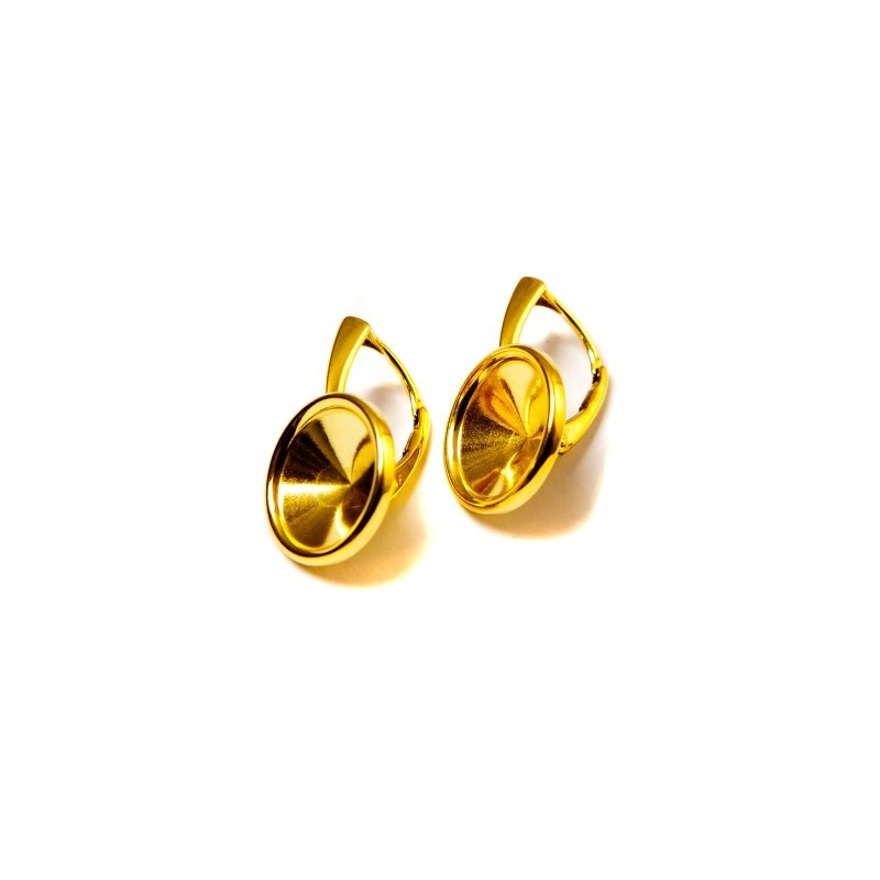 For rivoli 1122 12mm Swarovski approx. 24X15mm Silver Gold Plated Lever back with setting and edge
