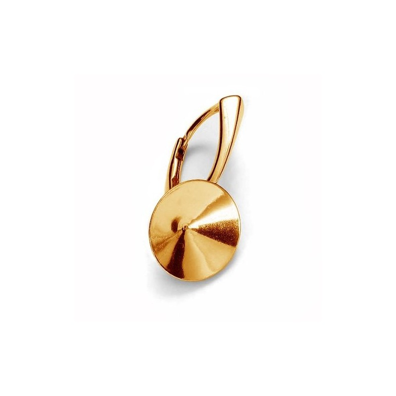 For rivoli 1122 14mm approx. 24,5X14mm Swarovski Silver Gold Plated Lever back with setting