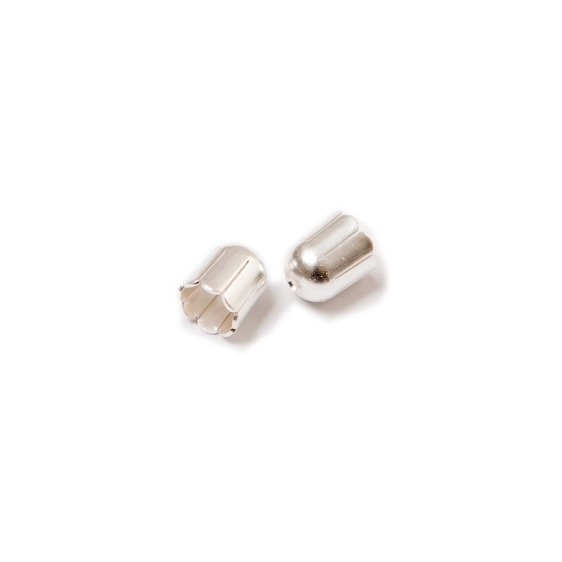 Колпачёк для бусин (Обниматель) 6mm KP02S покрытый серебром