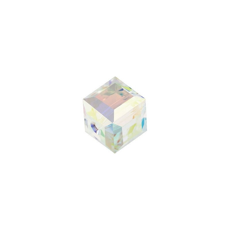 6MM Crystal Aurore Boreale B (001 ABB) 5601 Cube Bead SWAROVSKI ELEMENTS