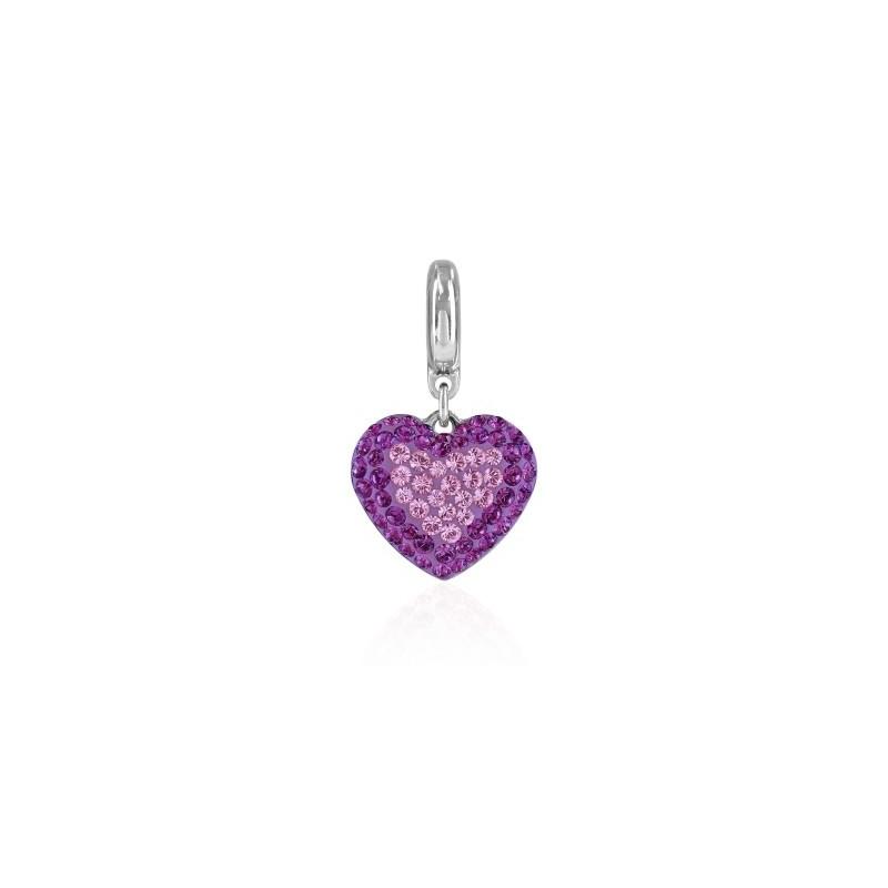 14mm BeCharmed Pavé Heart Charm 86502 Light Amethyst Swarovski Elements