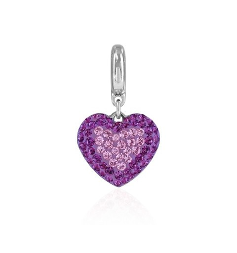 14mm BeCharmed Pavé Heart Charm 86502 Light Amethyst Swarovski Elements