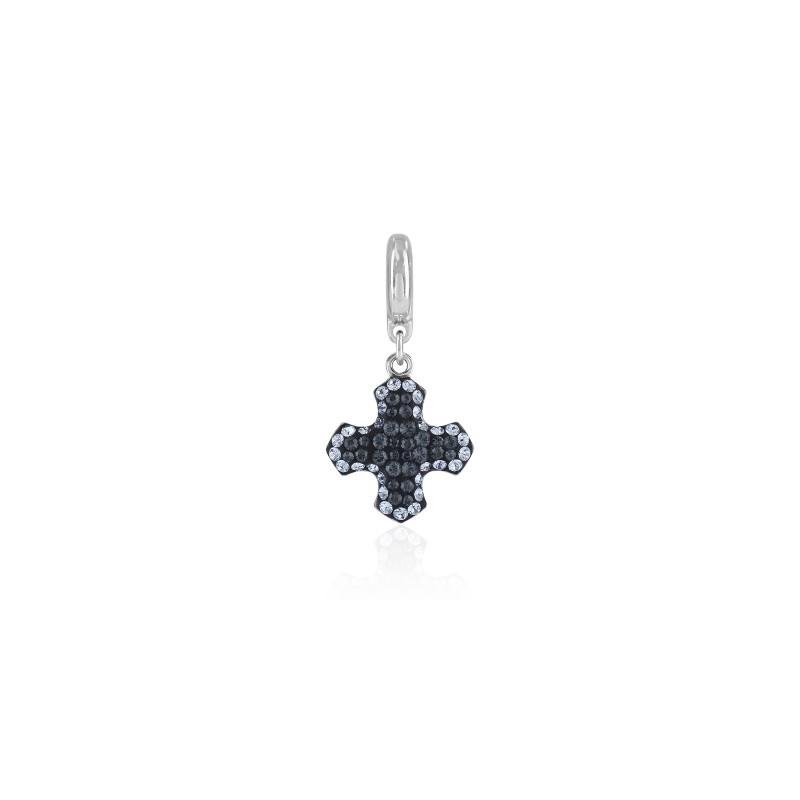 14mm BeCharmed Pavé Greek Cross Charm 86522 Light Sapphire (211) Swarovski Elements
