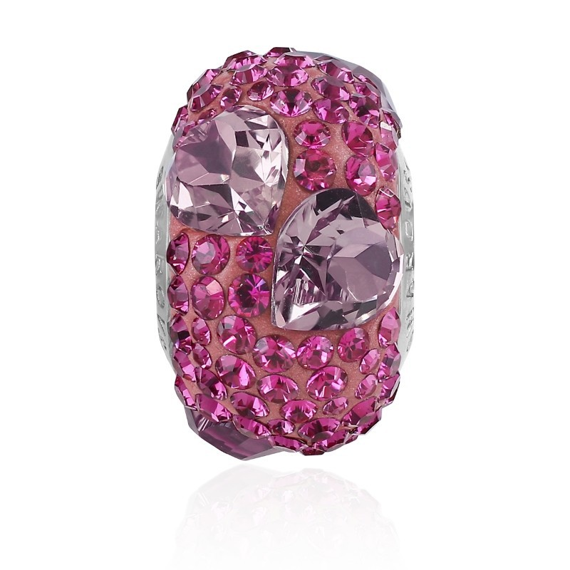 15.5mm BeCharmed Pavé Heart 81722 Fuchsia (502) Bead Swarovski Elements