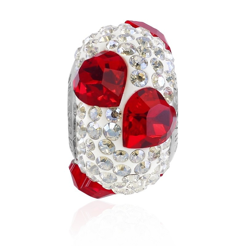 15.5mm BeCharmed Pavé Heart 81722 Light Siam (227) Bead Swarovski Elements