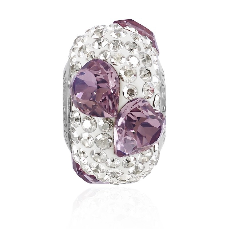 15.5mm BeCharmed Pavé Heart 81722 Crystal Antique Pink (001 ANTP) Bead Swarovski Elements