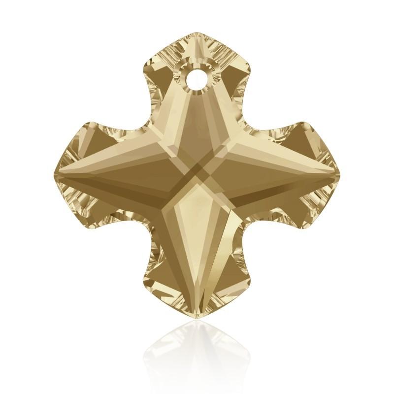 14MM Crystal Golden Shadow (001 GSHA) Greek Cross Pendant 6867 SWAROVSKI ELEMENTS