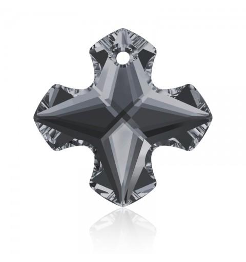 18MM Crystal Silver Night (001 SINI) Greek Cross Pendant 6867 SWAROVSKI ELEMENTS
