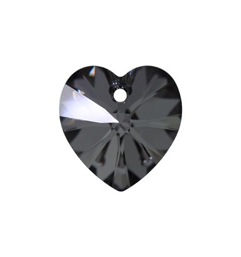 14.4x14MM Crystal Silver Night (001 SINI) XILION Heart Pendants 6228 SWAROVSKI ELEMENTS