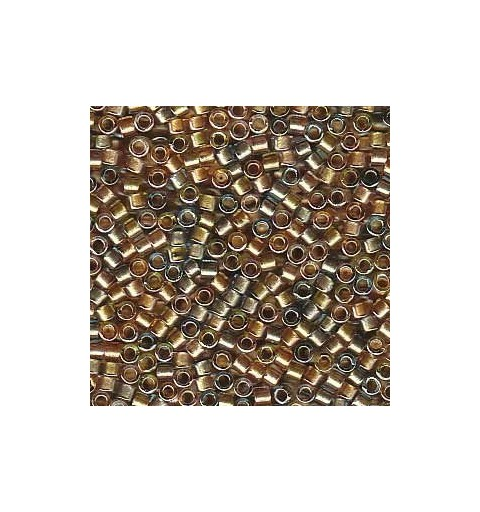 DB-981 Sparkle Lined Shades of Topaz, Gold & Pewter Miyuki DELICA 11/0 seed beads