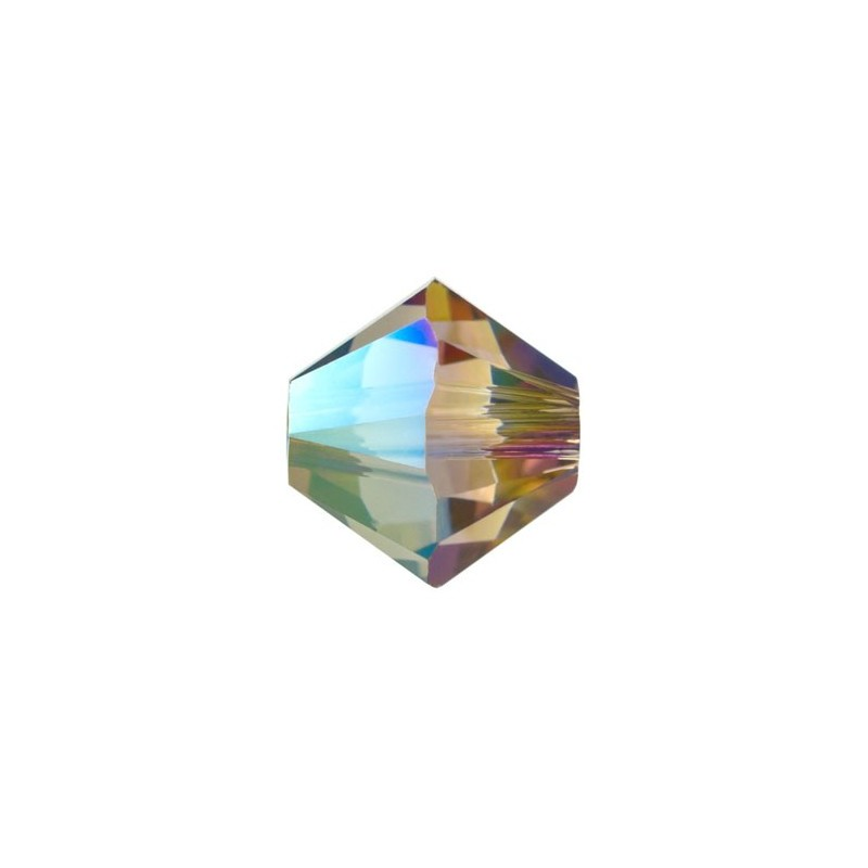4MM Crystal Iridescent Green (001 IRIG) 5328 XILION Bi-Cone Beads SWAROVSKI ELEMENTS